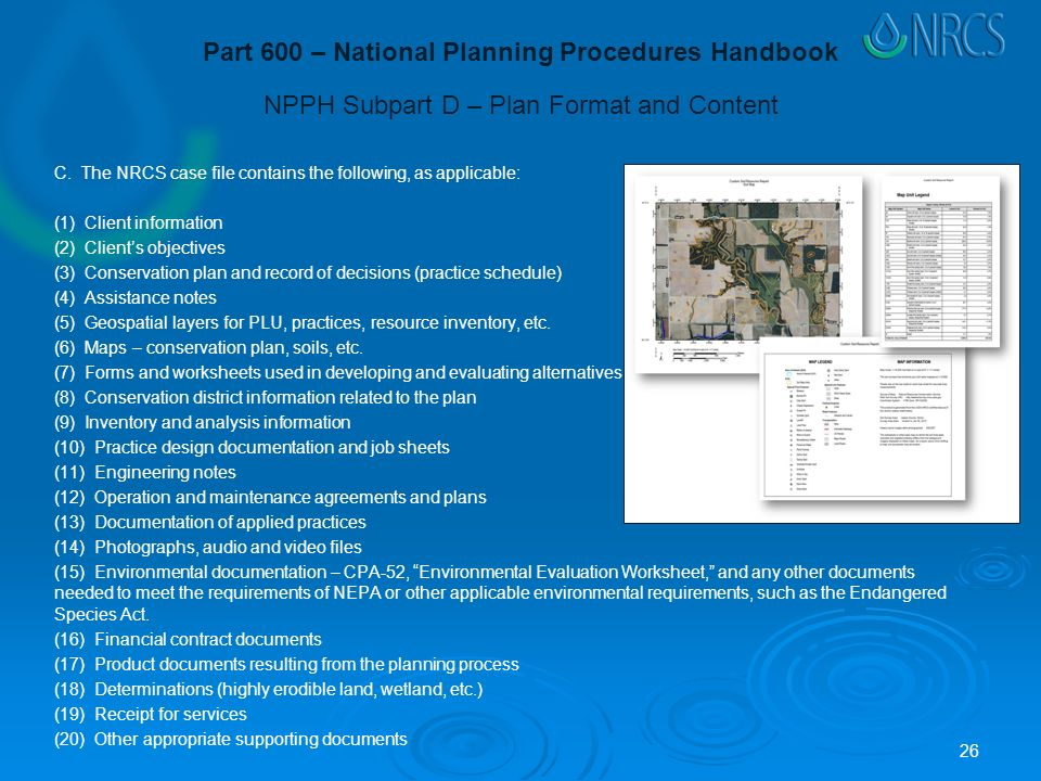 NPPH Subpart D – Plan Format and Content C.