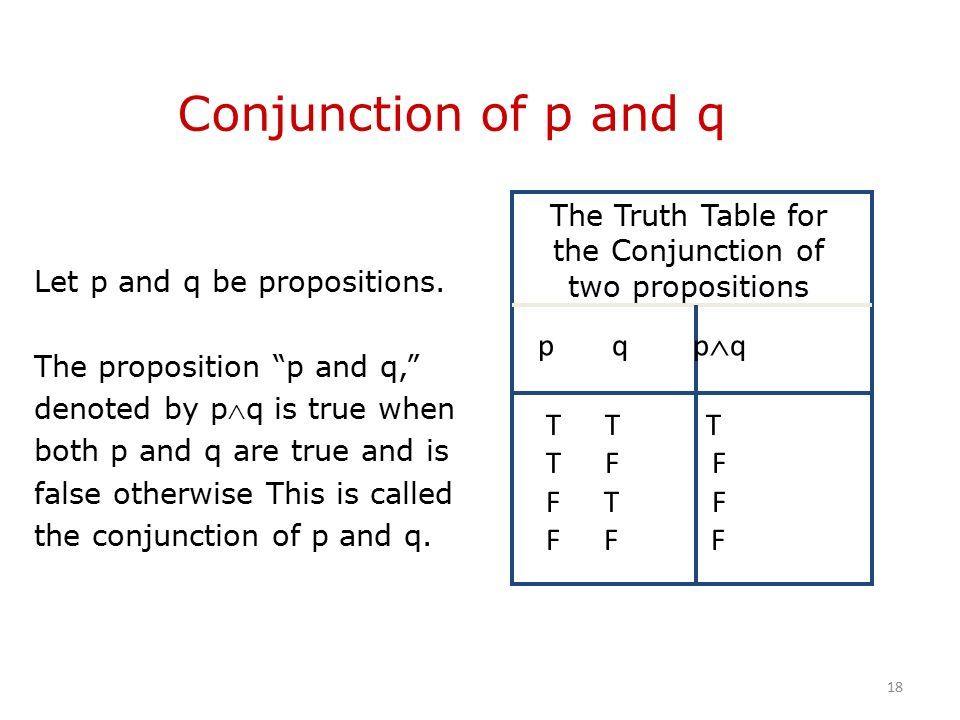 Conjunction of p and q Let p and q be propositions.