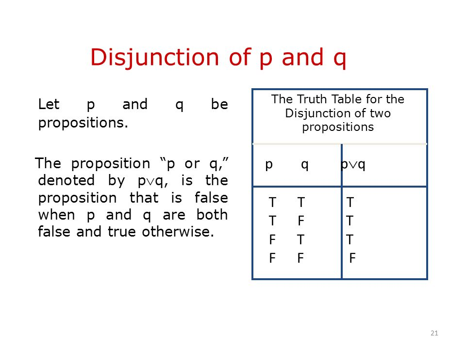 Disjunction of p and q Let p and q be propositions.