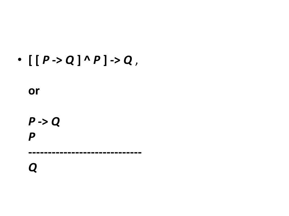 [ [ P -> Q ] ^ P ] -> Q, or P -> Q P ----------------------------- Q