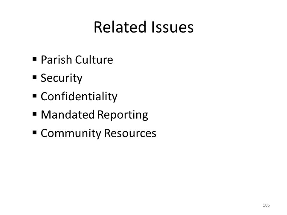 Related Issues  Parish Culture  Security  Confidentiality  Mandated Reporting  Community Resources 105
