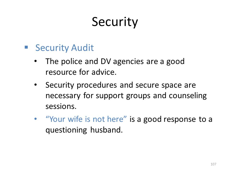 Security  Security Audit The police and DV agencies are a good resource for advice.