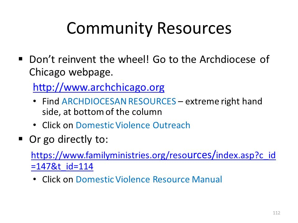 Community Resources  Don't reinvent the wheel. Go to the Archdiocese of Chicago webpage.