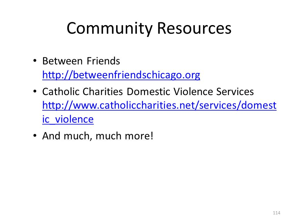 Community Resources Between Friends http://betweenfriendschicago.org http://betweenfriendschicago.org Catholic Charities Domestic Violence Services http://www.catholiccharities.net/services/domest ic_violence http://www.catholiccharities.net/services/domest ic_violence And much, much more.