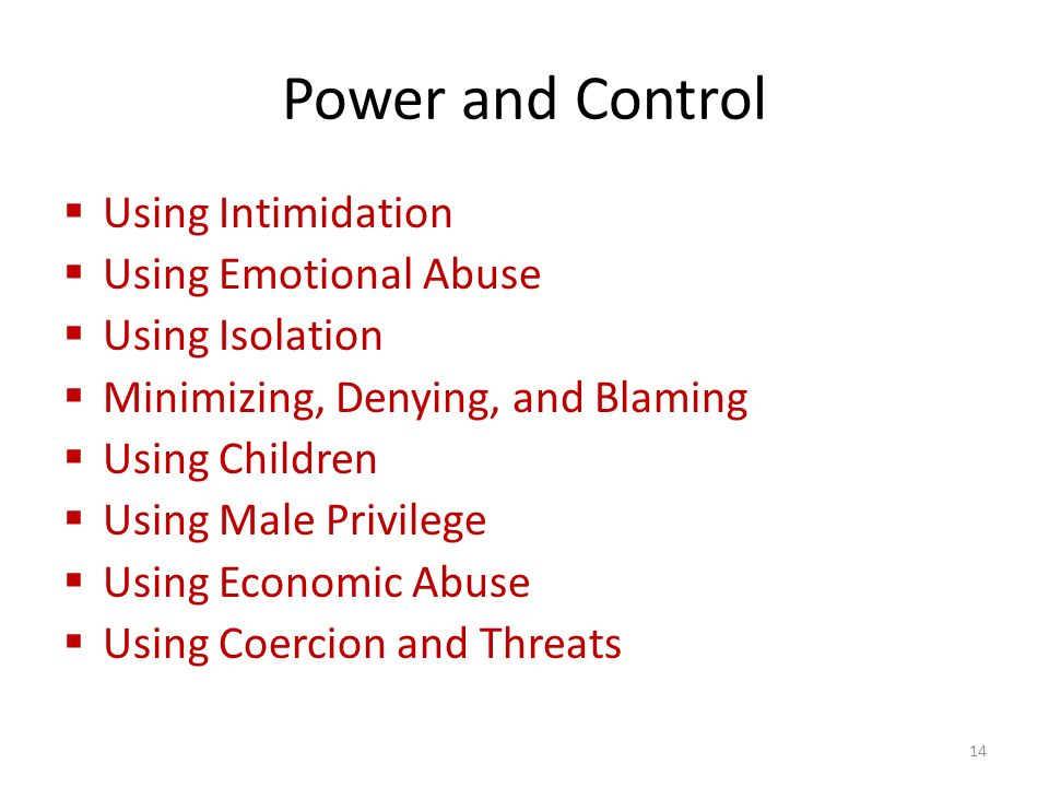 Power and Control  Using Intimidation  Using Emotional Abuse  Using Isolation  Minimizing, Denying, and Blaming  Using Children  Using Male Privilege  Using Economic Abuse  Using Coercion and Threats 14