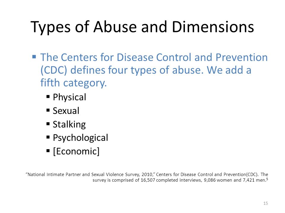 Types of Abuse and Dimensions  The Centers for Disease Control and Prevention (CDC) defines four types of abuse.