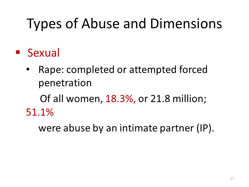 Types of Abuse and Dimensions  Sexual Rape: completed or attempted forced penetration Of all women, 18.3%, or 21.8 million; 51.1% were abuse by an intimate partner (IP).