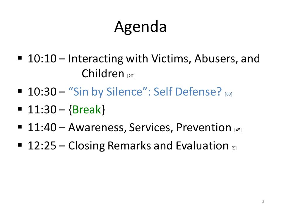 Agenda  10:10 – Interacting with Victims, Abusers, and Children [20]  10:30 – Sin by Silence : Self Defense.