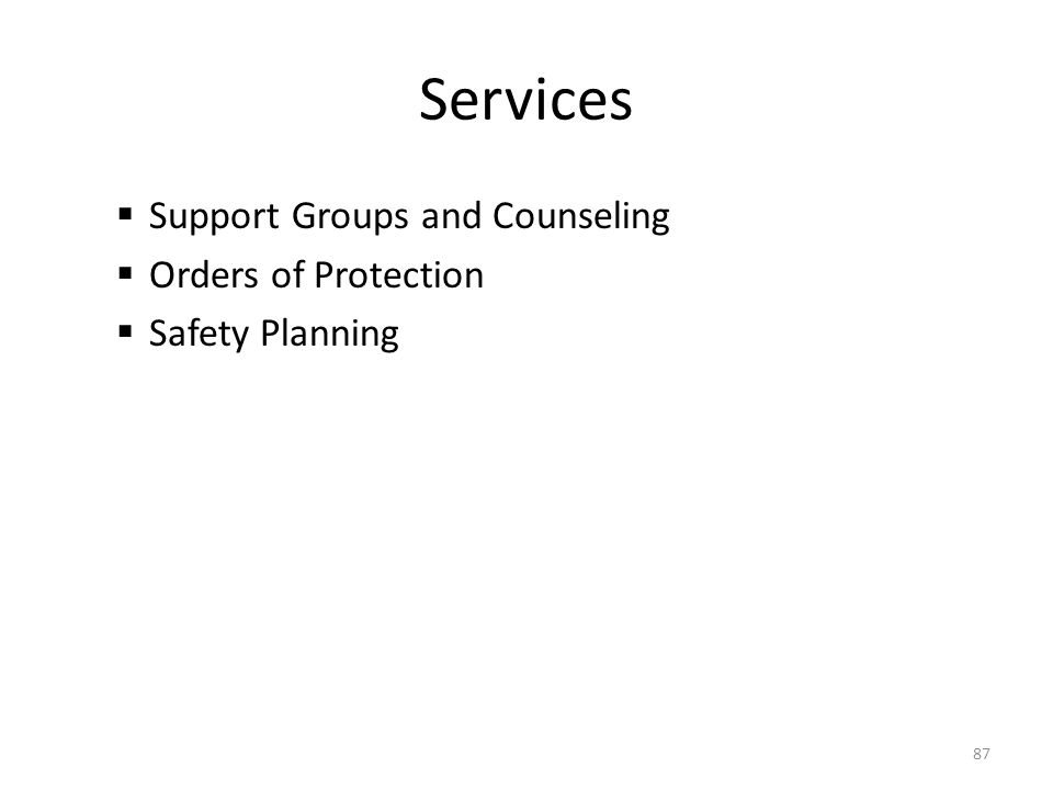 Services  Support Groups and Counseling  Orders of Protection  Safety Planning 87