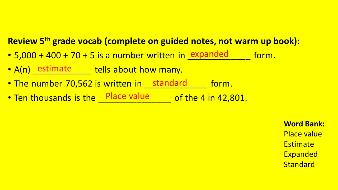 Review 5 th grade vocab complete on guided notes not warm up 1 review falaconquin