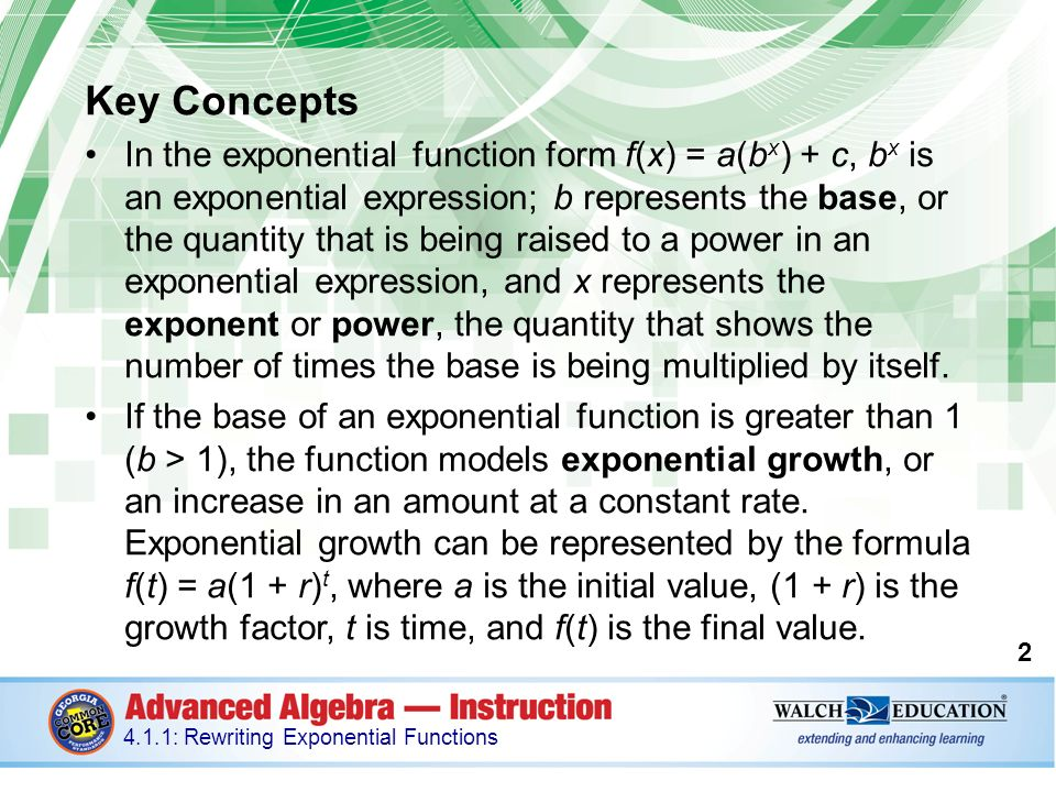 Introduction An exponential function is a function in the form f(x ...