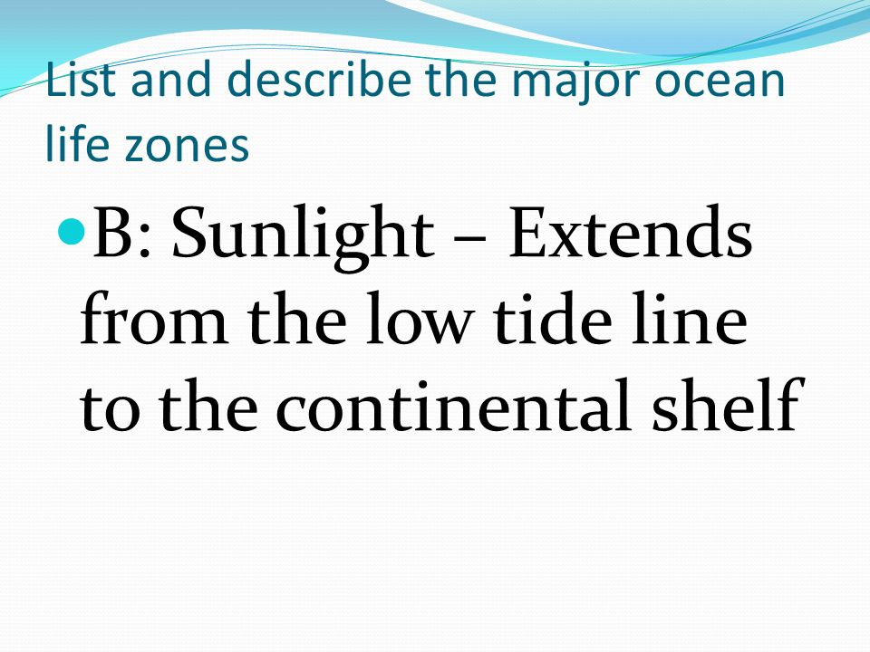 List and describe the major ocean life zones C: Open Ocean is divided into two areas 1.