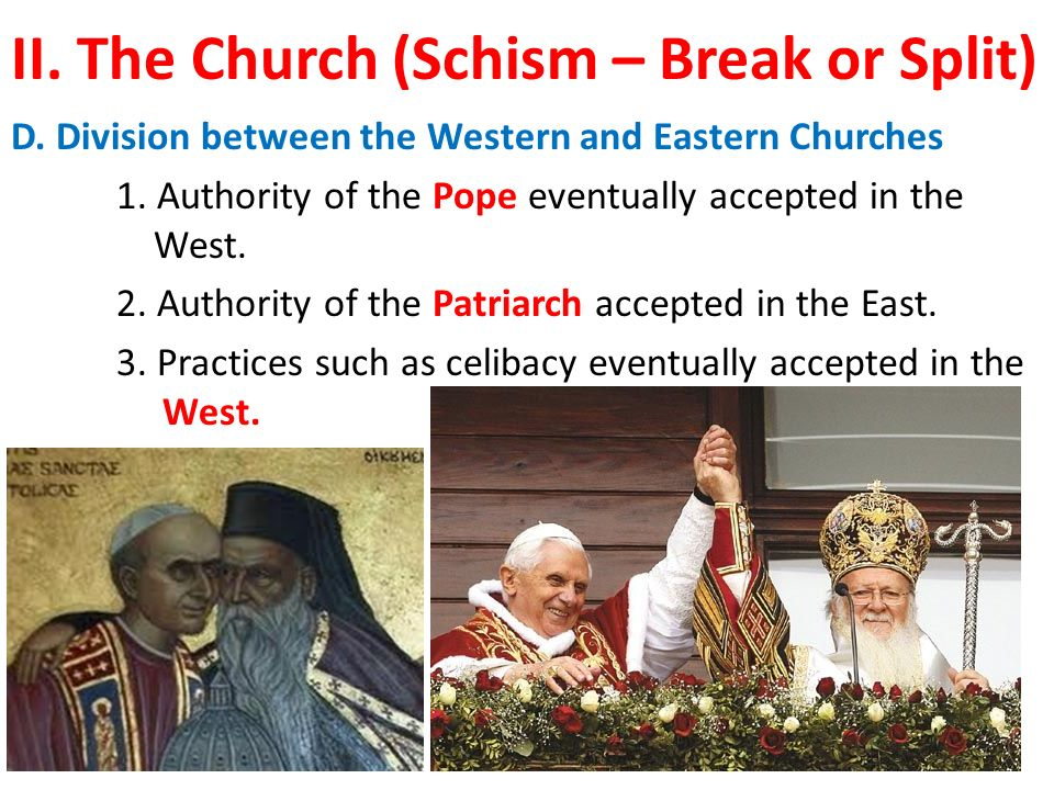 II. The Church (Schism – Break or Split) D. Division between the Western and Eastern Churches 1.