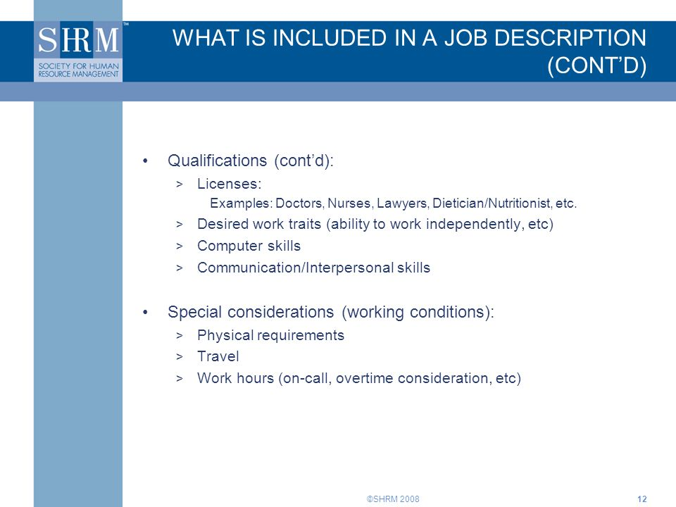 Job Descriptions Training For Supervisors. ©Shrm Introduction Job