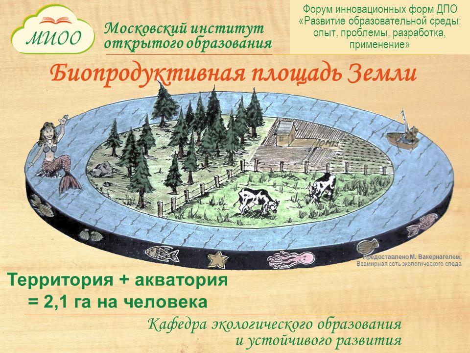 Московский институт открытого образования Кафедра экологического образования и устойчивого развития Территория + акватория = 2,1 га на человека Биопродуктивная площадь Земли Предоставлено М.