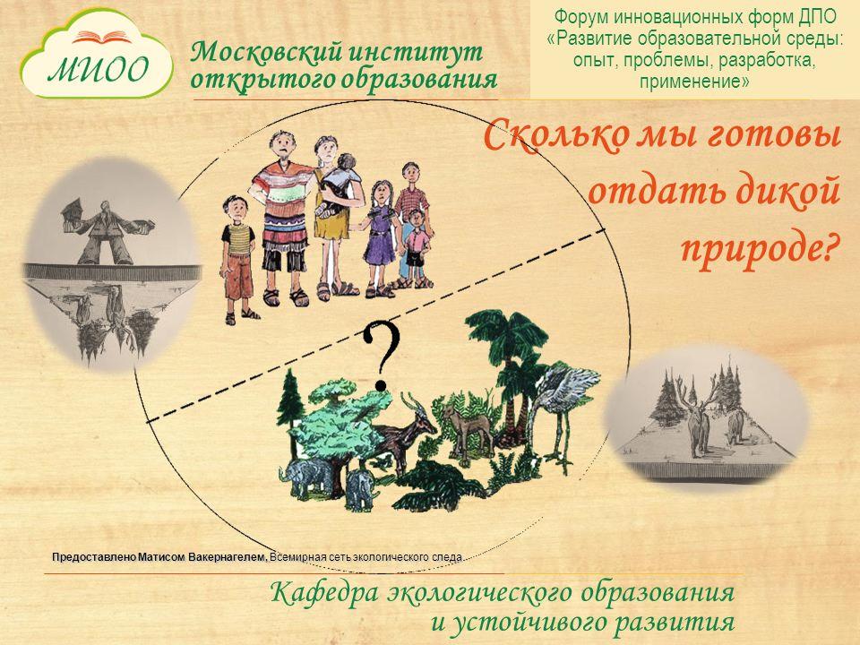 Московский институт открытого образования Кафедра экологического образования и устойчивого развития Сколько мы готовы отдать дикой природе.