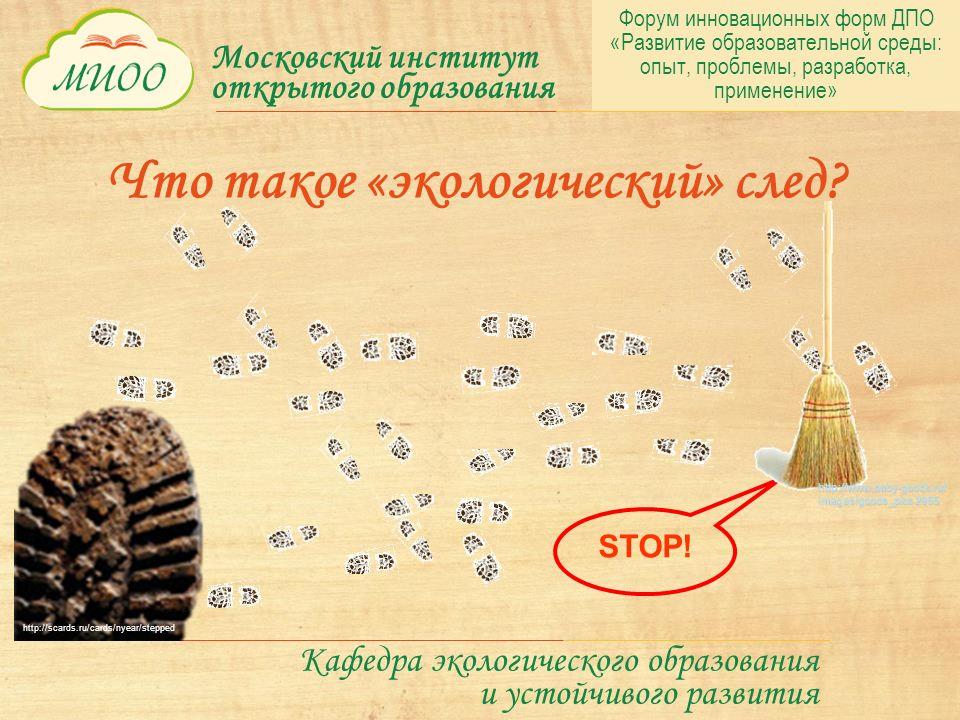 Московский институт открытого образования Кафедра экологического образования и устойчивого развития STOP.