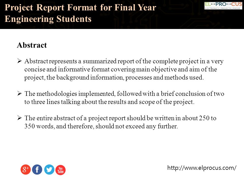 Project Report Format For Final Year Engineering Students. - Ppt