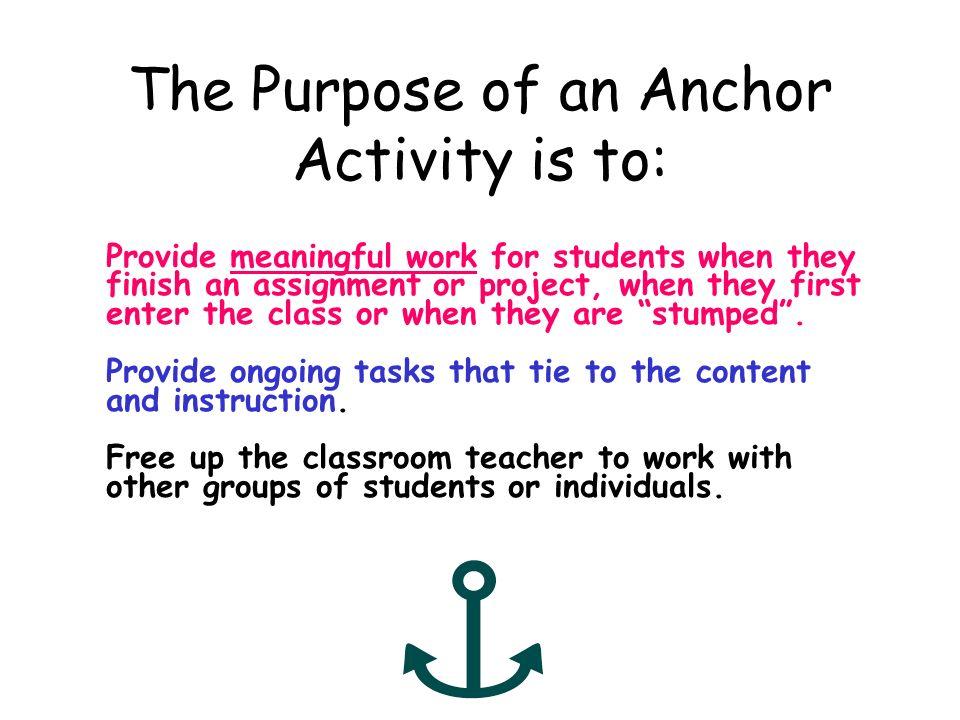 Anchor activity