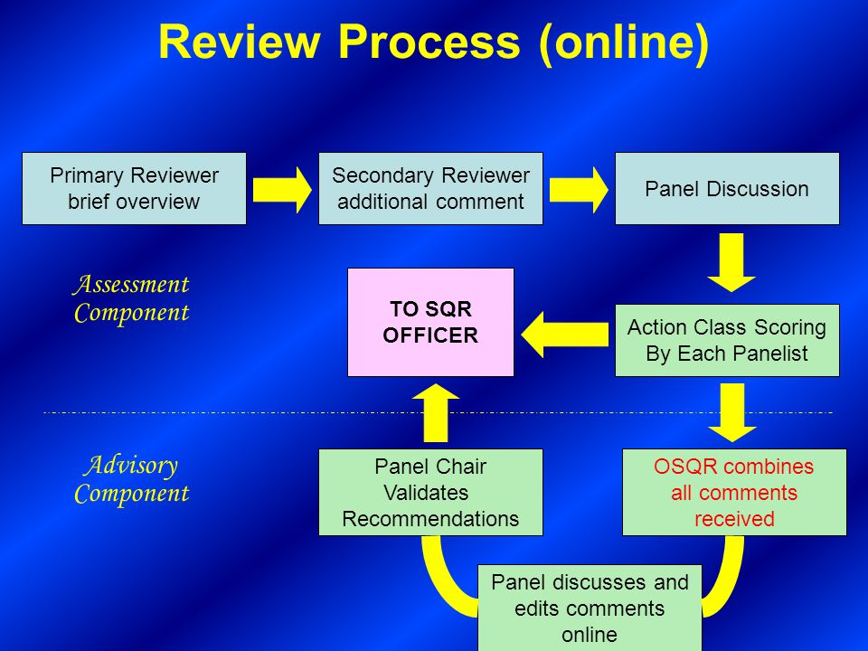 Review Process (online) Primary Reviewer brief overview Secondary Reviewer additional comment Panel Discussion Action Class Scoring By Each Panelist TO SQR OFFICER OSQR combines all comments received Panel Chair Validates Recommendations Advisory Component Assessment Component Panel discusses and edits comments online