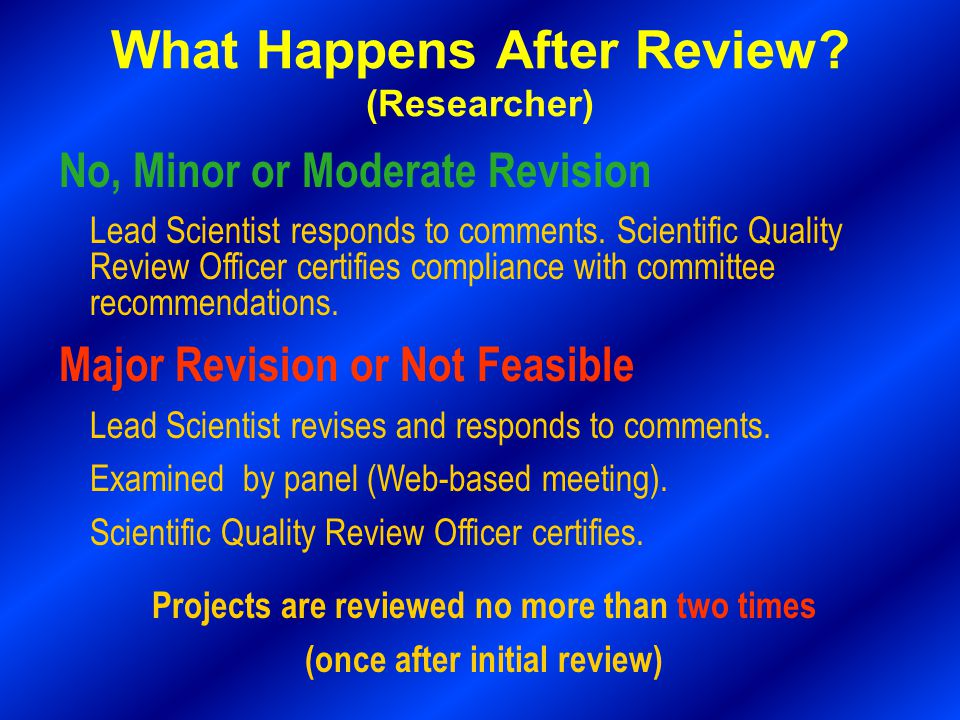 No, Minor or Moderate Revision Lead Scientist responds to comments.