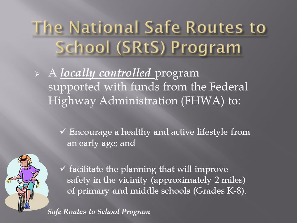 Safe Routes to School Program …a two day training session conducted by Washington Bikes (a non- profit state-wide bicycle advocacy organization) Provides framework of knowledge to later be shared with students for safe and healthy cycling and walking.