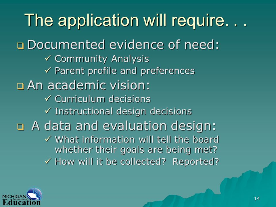 14 The application will require... Documented evidence of need: Documented evidence of need: Community Analysis Community Analysis Parent profile and