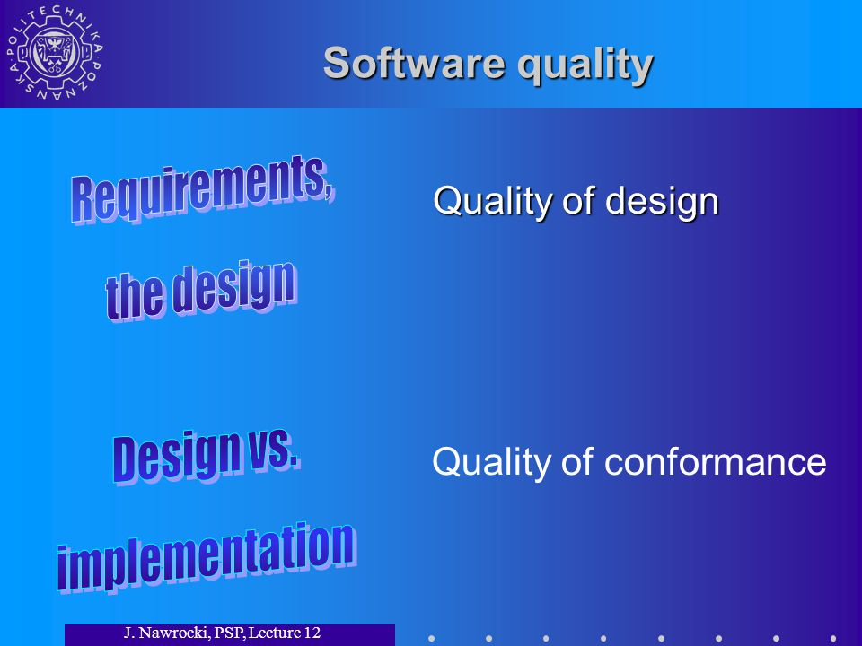 J. Nawrocki, PSP, Lecture 12 Software quality Quality of design Quality of conformance