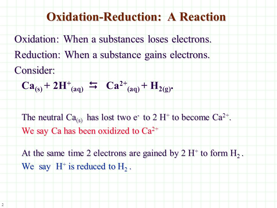 3 Redox Reaction with Air Consider the reaction of Ca with O 2 : 2Ca (s) + O 2(g) 2CaO (s) Ca is easily oxidized in air.