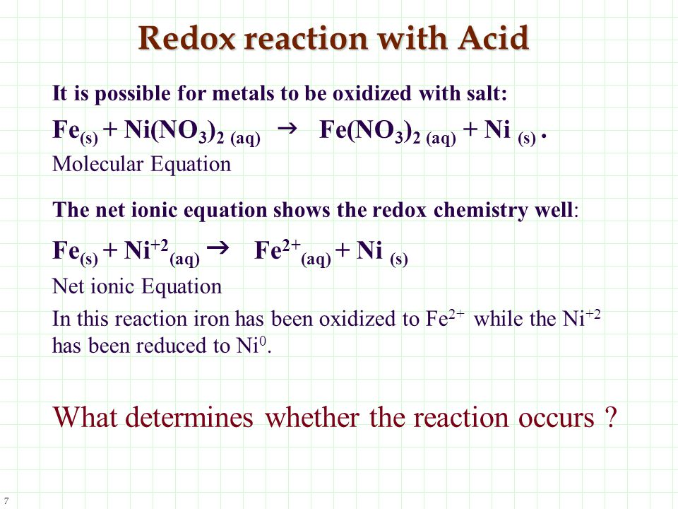 7 Redox reaction with Acid It is possible for metals to be oxidized with salt: Fe (s) + Ni(NO 3 ) 2 (aq) Fe(NO 3 ) 2 (aq) + Ni (s). Molecular Equation