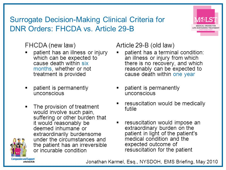53 Surrogate Decision-Making Clinical Criteria for DNR Orders: FHCDA vs. Article 29-B FHCDA (new law) patient has an illness or injury which can be ex