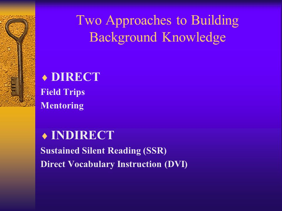 Two Approaches to Building Background Knowledge DIRECT Field Trips Mentoring INDIRECT Sustained Silent Reading (SSR) Direct Vocabulary Instruction (DVI)