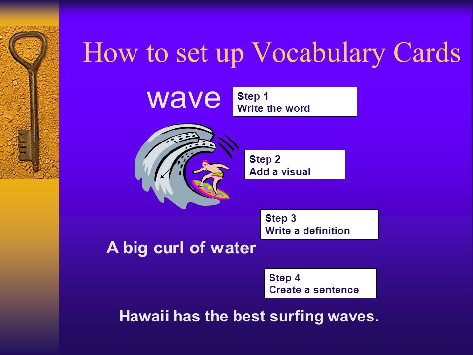 Step 1 Write the word wave Step 2 Add a visual Step 3 Write a definition A big curl of water Step 4 Create a sentence Hawaii has the best surfing waves.