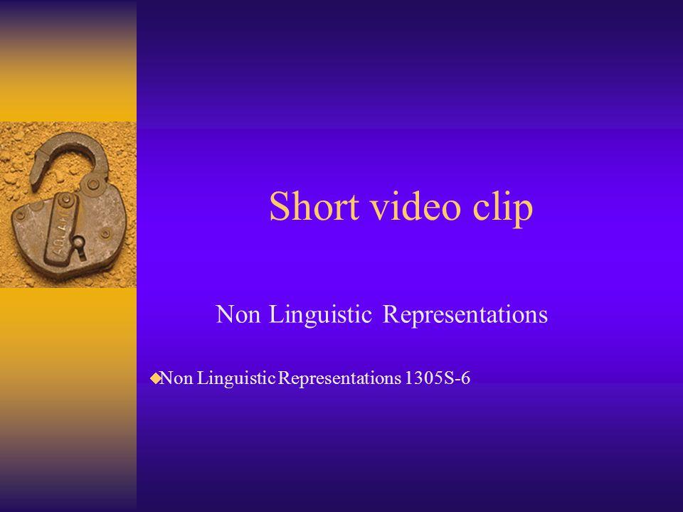 Short video clip Non Linguistic Representations Non Linguistic Representations 1305S-6