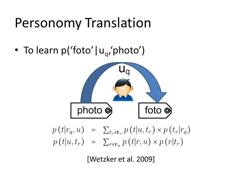 Personomy Translation To learn p(foto|u q,photo) [Wetzker et al. 2009]