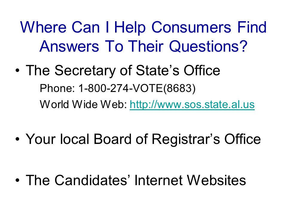 Where Can I Help Consumers Find Answers To Their Questions.