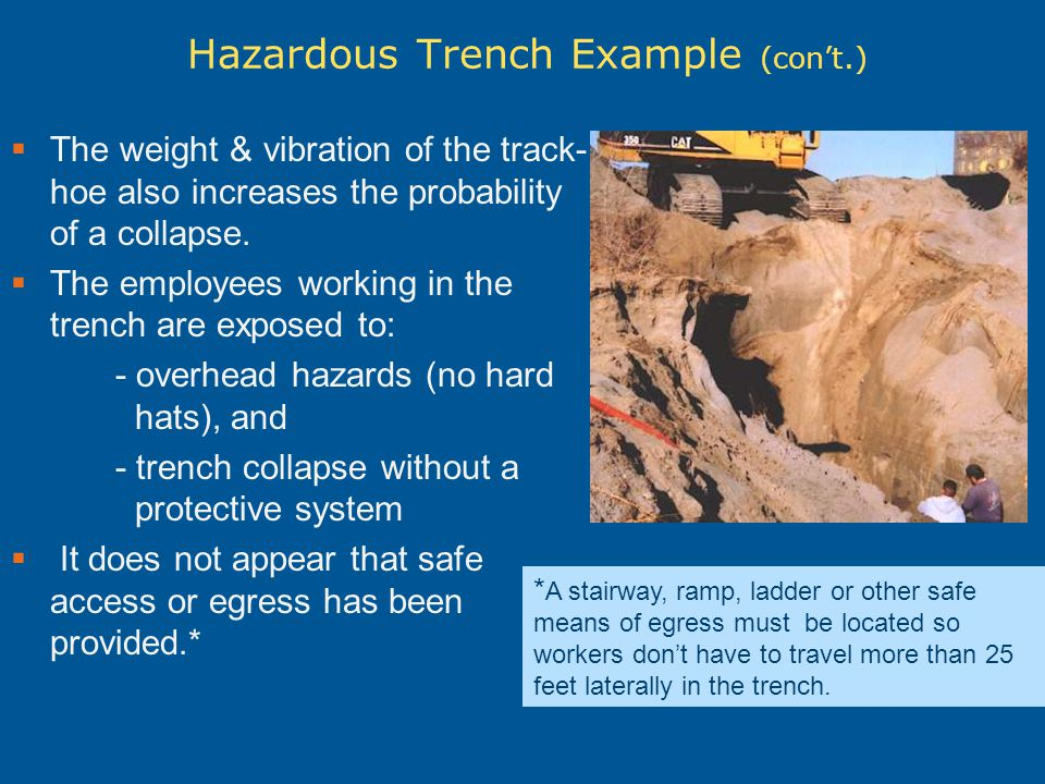 Another hazardous trench example Nearby heavy equipment and the spoils pile directly on the right edge of the excavation both create a surcharge load.