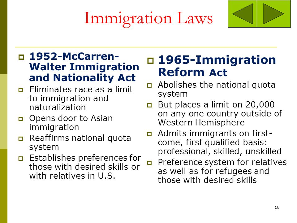 Immigration Laws 1917-Literacy Test Requires all immigrants to read or write English before granted entry into U.S. Proves INEFFECTIVE: between 1918-1