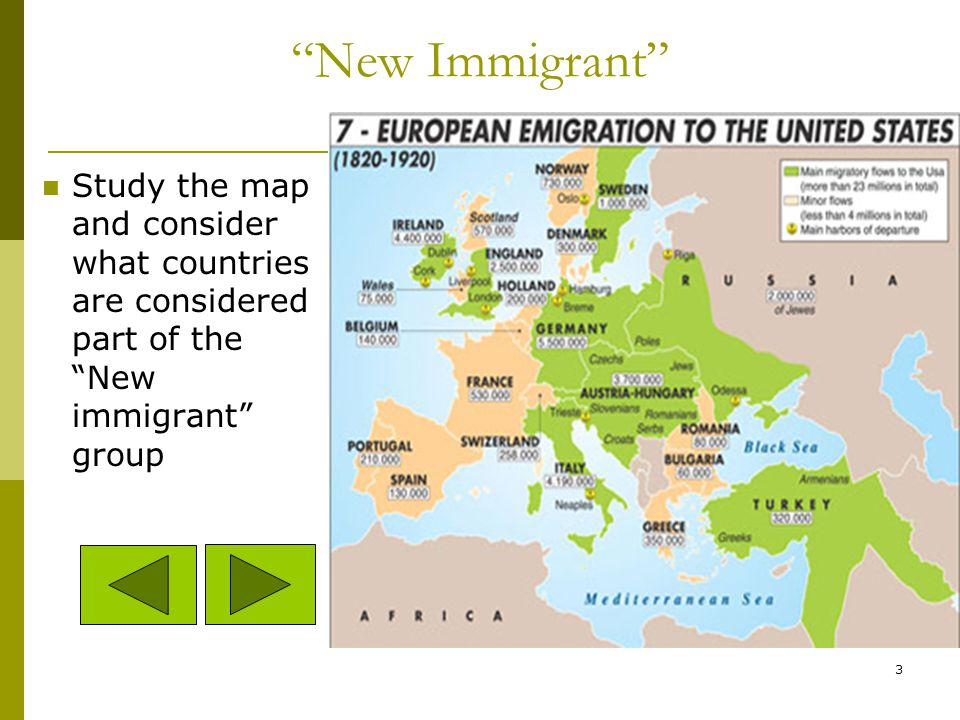 Old Immigrants: those who came from Northern/Western Europe before 1900. New Immigrants: those who came from Eastern/Southern Europe from 1890-1920s.