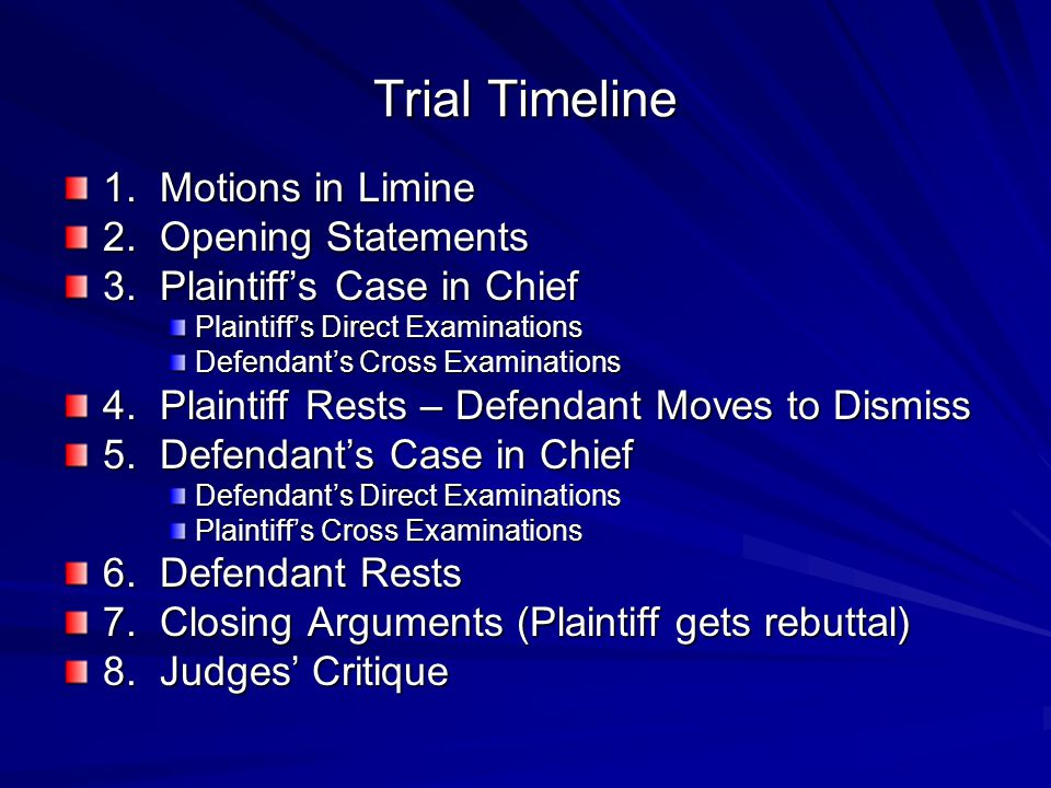 Trial Timeline 1. Motions in Limine 2. Opening Statements 3. Plaintiffs Case in Chief Plaintiffs Direct Examinations Defendants Cross Examinations 4.