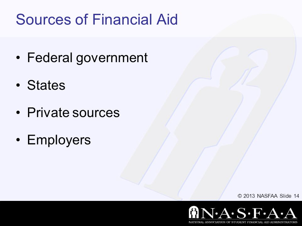 © 2013 NASFAA Slide 14 Sources of Financial Aid Federal government States Private sources Employers