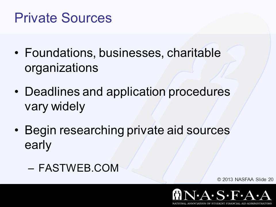 © 2013 NASFAA Slide 20 Private Sources Foundations, businesses, charitable organizations Deadlines and application procedures vary widely Begin researching private aid sources early –FASTWEB.COM