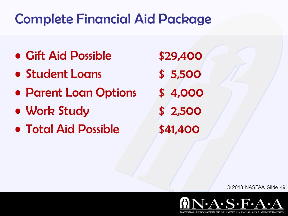 © 2013 NASFAA Slide 49 Complete Financial Aid Package Gift Aid Possible$29,400 Student Loans$ 5,500 Parent Loan Options $ 4,000 Work Study $ 2,500 Total Aid Possible $41,400
