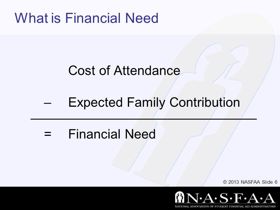 © 2013 NASFAA Slide 7 Need varies widely by school