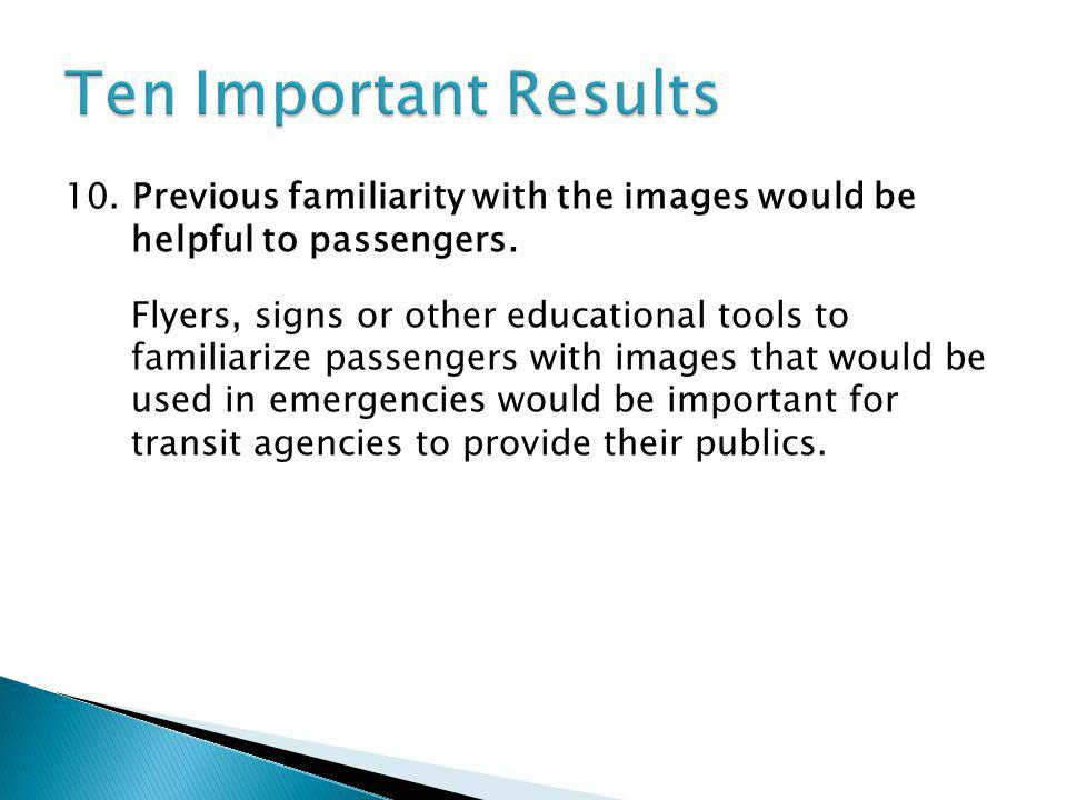 10.Previous familiarity with the images would be helpful to passengers.