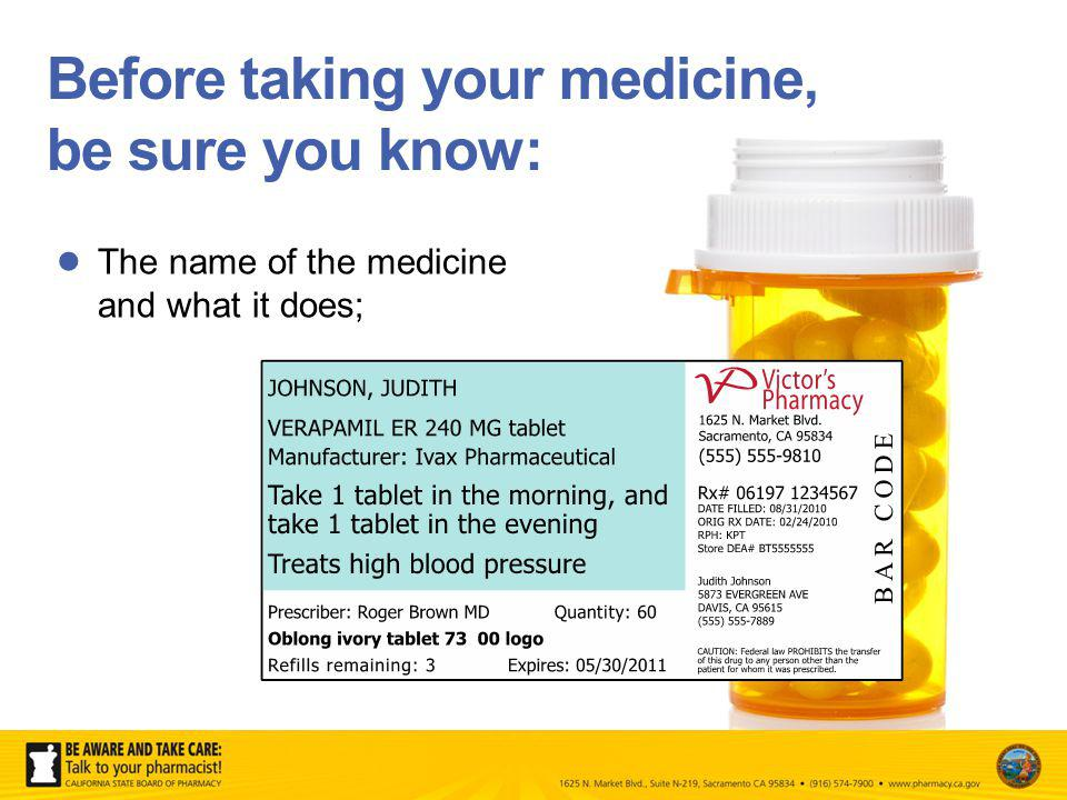 Before taking your medicine, be sure you know: The name of the medicine and what it does;