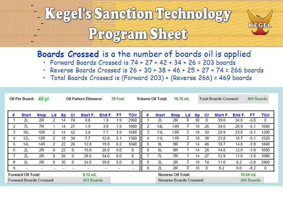Boards Crossed is a the number of boards oil is applied Forward Boards Crossed is 74 + 27 + 42 + 34 + 26 = 203 boards Reverse Boards Crossed is 26 + 30 + 38 + 46 + 25 + 27 + 74 = 266 boards Total Boards Crossed is (Forward 203) + (Reverse 266) = 469 boards 40 µl