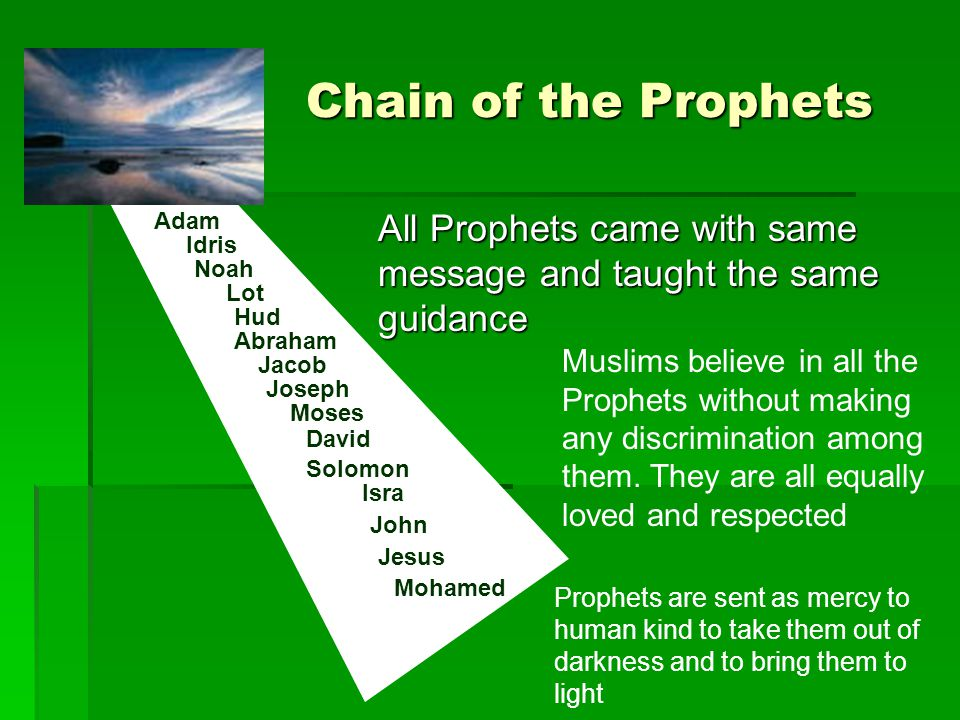 Chain of the Prophets Adam Idris Noah Lot Hud Abraham Jacob Joseph Moses David Solomon Isra John Jesus Mohamed All Prophets came with same message and taught the same guidance Muslims believe in all the Prophets without making any discrimination among them.