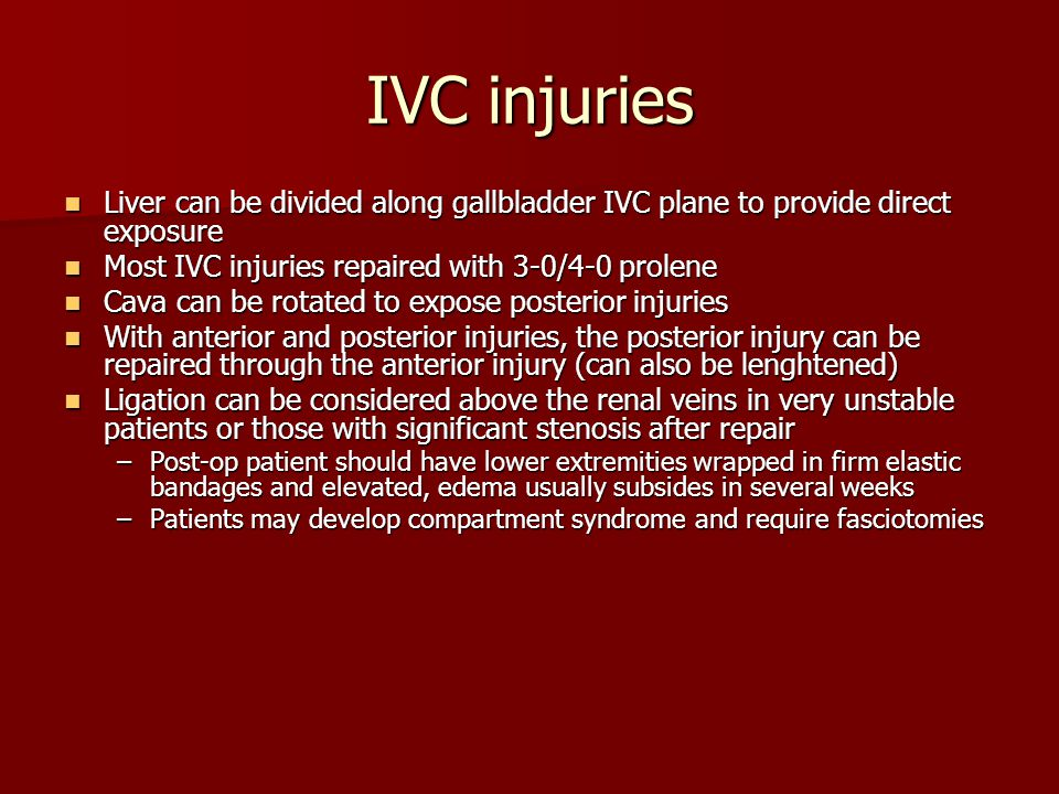 IVC injuries Liver can be divided along gallbladder IVC plane to provide direct exposure Liver can be divided along gallbladder IVC plane to provide d