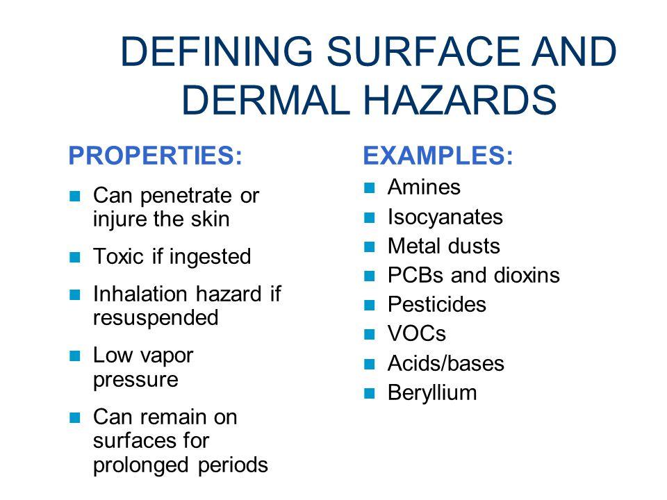 DEFINING SURFACE AND DERMAL HAZARDS Chemicals that can cause dermatitis or skin damage.